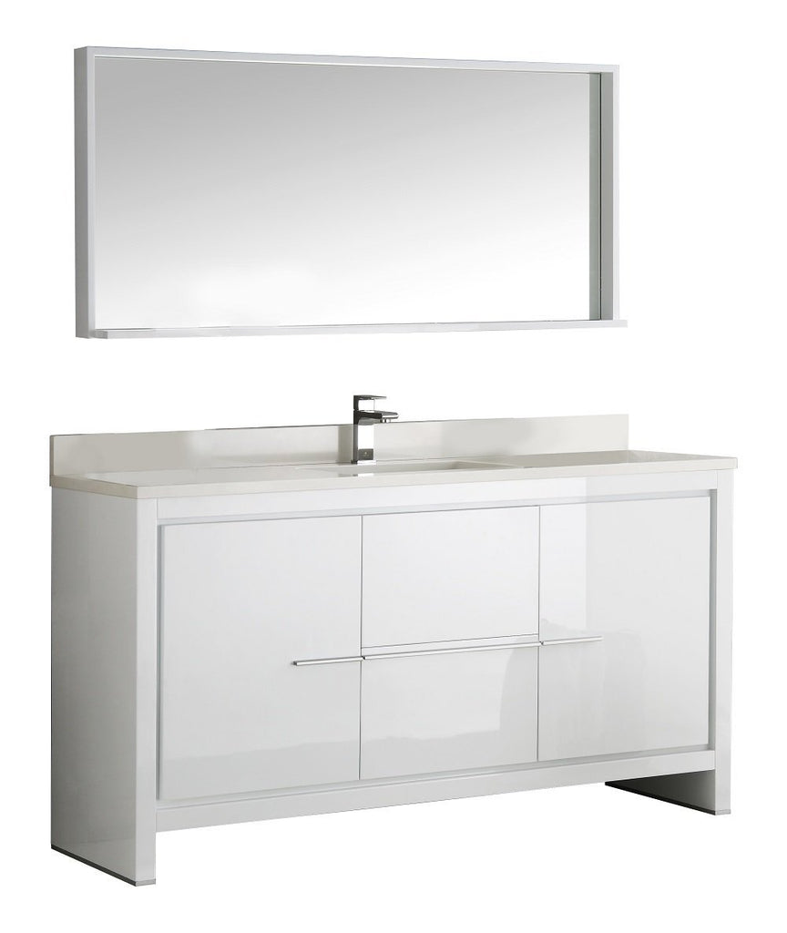 "Fresca Allier 60"" Modern Single Sink Vanity FVN8119WH-S-FFT1030BN"