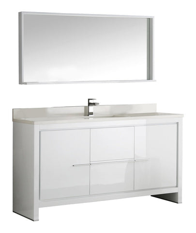 "Image of Fresca Allier 60"" Modern Single Sink Vanity FVN8119WH-S-FFT1030BN"