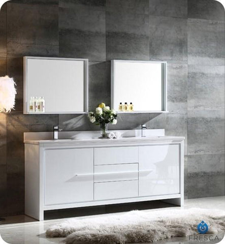 "Image of Fresca Allier 72"" White Modern Double Sink Bathroom Vanity w/ Mirror 