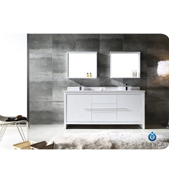 "Fresca Allier 72"" White Modern Double Sink Bathroom Vanity w/ Mirror 