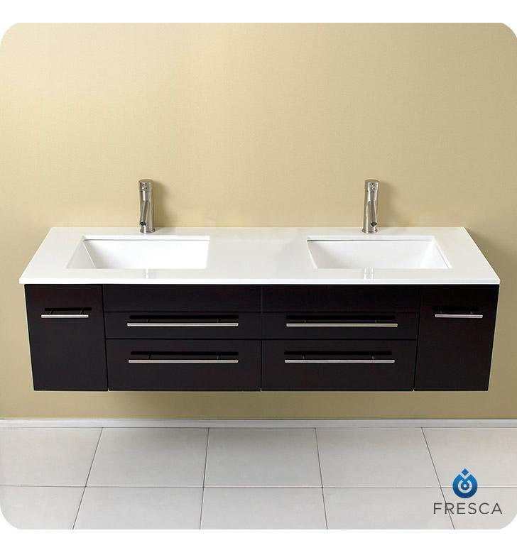 "Fresca Bellezza 59"" Natural Wood Modern Double Vessel Sink Cabinet FCB6119ES-UNS-CWH-U"