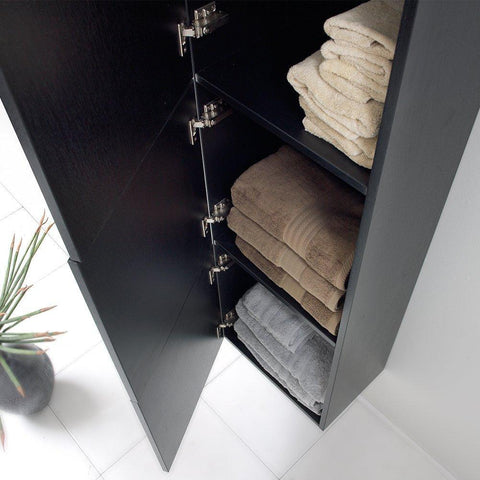 Fresca Black Bathroom Linen Side Cabinet w/ 3 Large Storage Areas FST8090BW
