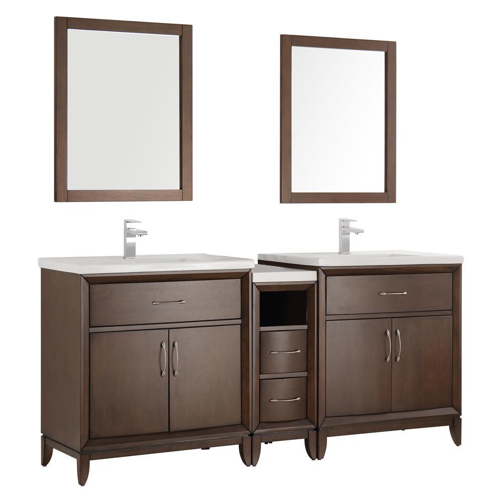"Fresca Cambridge 72""Double Sink Vanity FVN21-301230AC-FFT1030BN"