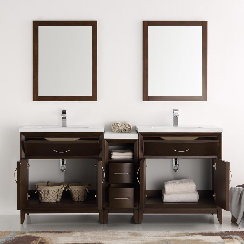 "Fresca Cambridge 72""Double Sink Vanity FVN21-301230WH-FFT1030BN"