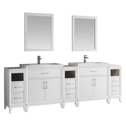 "Fresca Cambridge 96"" Double Sink Vanity FVN21-96WH-FFT1030BN"