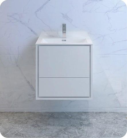 "Image of Fresca Catania 24"" Glossy White Wall Hung Modern Bathroom Cabinet w/ Integrated Sink 
