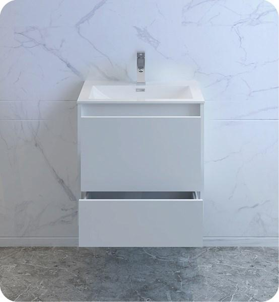 "Fresca Catania 24"" Glossy White Wall Hung Modern Bathroom Cabinet w/ Integrated Sink 