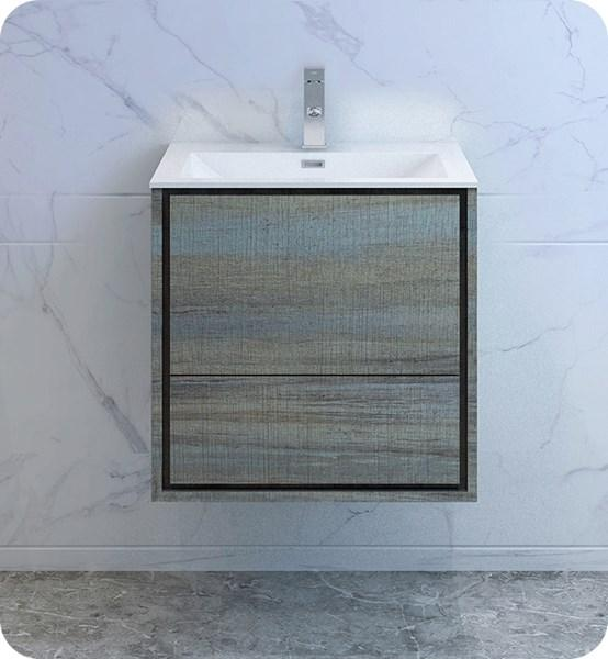 "Fresca Catania 24"" Ocean Gray Wall Hung Modern Bathroom Cabinet w/ Integrated Sink 