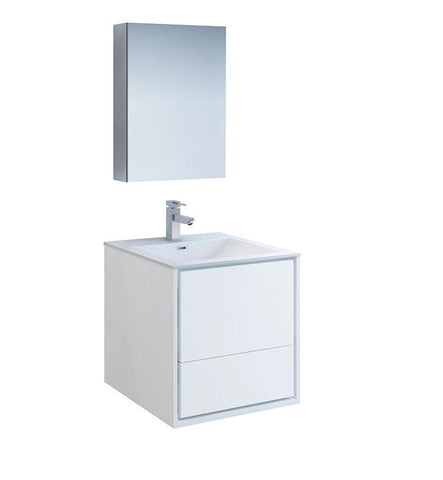"Image of Fresca Catania 24"" White Bath Bowl Vessel Drain Vanity Set w/ Cabinet & Faucet FVN9224WH-FFT1030BN"