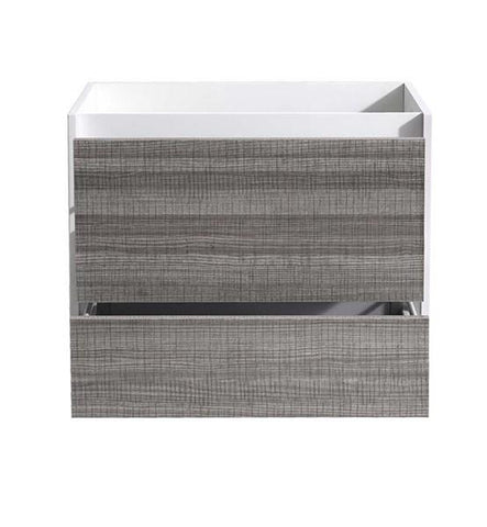 "Image of Fresca Catania 30"" Glossy Ash Gray Wall Hung Modern Bathroom Cabinet 