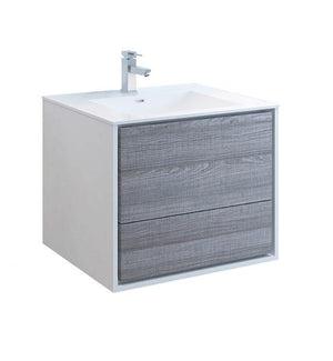 "Fresca Catania 30"" Glossy Ash Gray Wall Hung Modern Bathroom Cabinet w/ Integrated Sink 