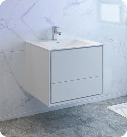 "Fresca Catania 30"" Glossy White Wall Hung Modern Bathroom Cabinet w/ Integrated Sink 