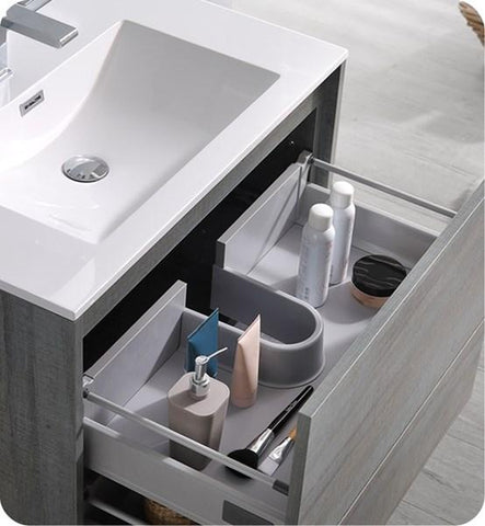 "Fresca Catania 30"" Ocean Gray Wall Hung Modern Bathroom Cabinet w/ Integrated Sink 