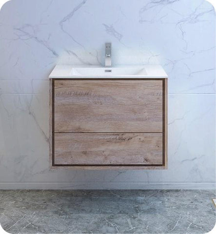 "Image of Fresca Catania 30"" Rustic Natural Wood Wall Hung Modern Bathroom Cabinet w/ Integrated Sink 