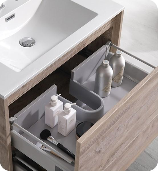 "Fresca Catania 30"" Rustic Natural Wood Wall Hung Modern Bathroom Cabinet w/ Integrated Sink 