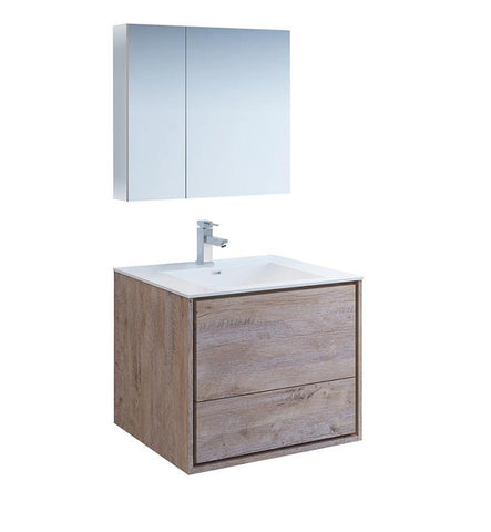 "Image of Fresca Catania 30"" Rustic Wood Bath Bowl Vessel Vanity Set w/ Cabinet & Faucet FVN9230RNW-FFT1030BN"