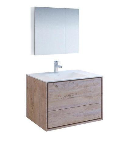 "Image of Fresca Catania 36"" Rustic Wood Bath Bowl Vessel Vanity Set w/ Cabinet & Faucet FVN9236RNW-FFT1030BN"
