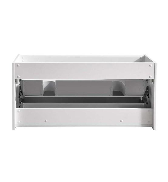 "Fresca Catania 48"" Glossy White Wall Hung Double Sink Modern Bathroom Cabinet 