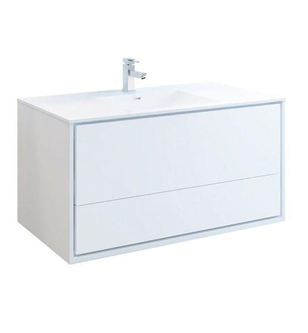 "Image of Fresca Catania 48"" Glossy White Wall Hung Modern Bathroom Cabinet w/ Integrated Sink 