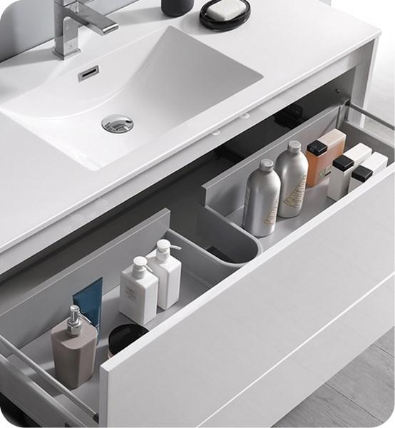 "Fresca Catania 48"" Glossy White Wall Hung Modern Bathroom Cabinet w/ Integrated Sink 