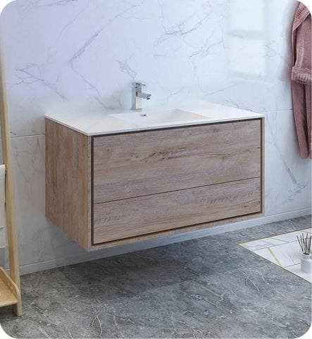 "Image of Fresca Catania 48"" Rustic Natural Wood Wall Hung Modern Bathroom Cabinet w/ Integrated Sink 