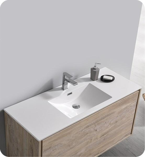 "Fresca Catania 48"" Rustic Natural Wood Wall Hung Modern Bathroom Cabinet w/ Integrated Sink 