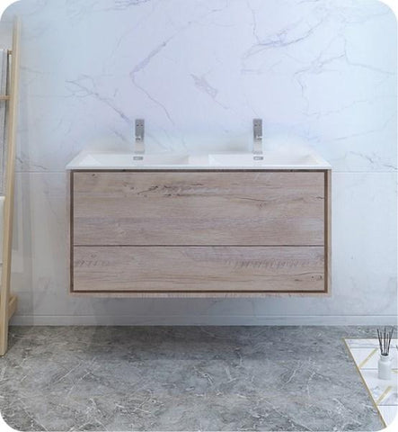 "Image of Fresca Catania 48"" Rustic Natural Wood Wall Modern Bathroom Cabinet w/ Integrated Double Sink 
