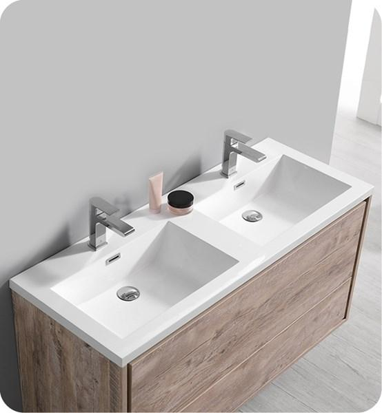 "Fresca Catania 48"" Rustic Natural Wood Wall Modern Bathroom Cabinet w/ Integrated Double Sink 
