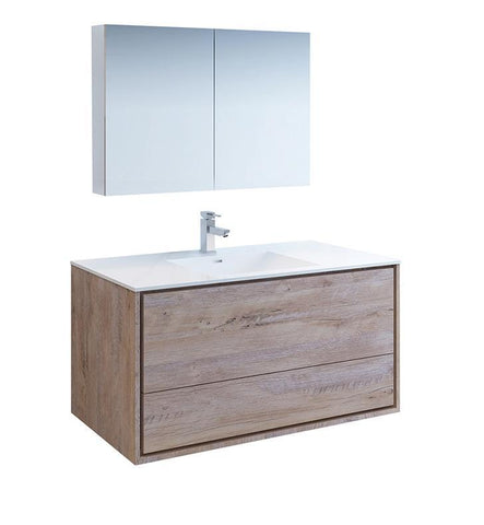 "Image of Fresca Catania 48"" Rustic Wood Bath Bowl Vessel Vanity Set w/ Cabinet & Faucet FVN9248RNW-FFT1030BN"