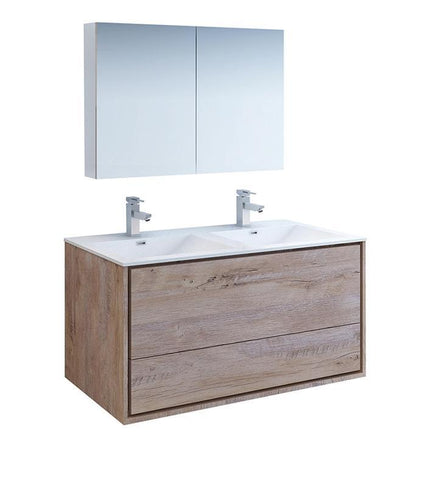 "Image of Fresca Catania 48"" Rustic Wood Double Sink Bath Vanity Set w/ Cabinet & Faucet FVN9248RNW-D-FFT1030BN"