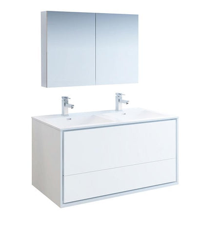 "Image of Fresca Catania 48"" White Double Sink Bath Bowl Vanity Set w/ Cabinet & Faucet FVN9248WH-D-FFT1030BN"