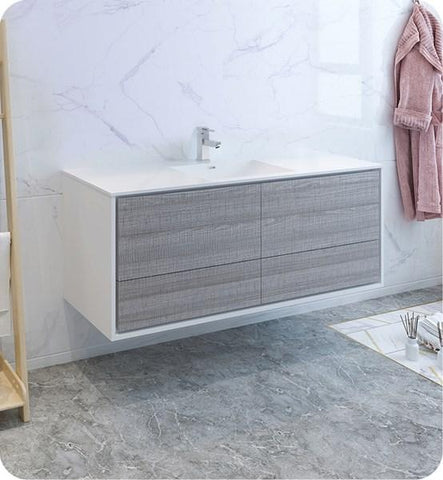 "Image of Fresca Catania 60"" Glossy Ash Gray Wall Hung Modern Bathroom Cabinet w/ Integrated Single Sink 
