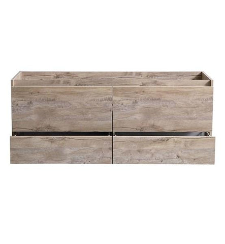 "Image of Fresca Catania 60"" Rustic Natural Wood Wall Hung Double Sink Modern Bathroom Cabinet 