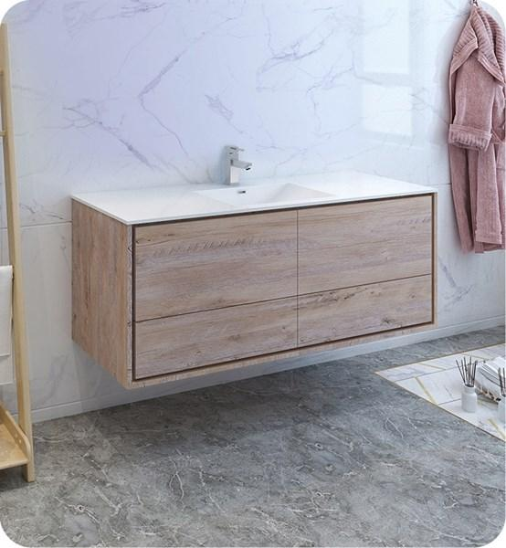 "Fresca Catania 60"" Rustic Natural Wood Wall Hung Modern Bathroom Cabinet w/ Integrated Single Sink 