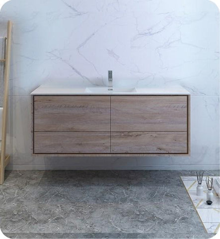"Image of Fresca Catania 60"" Rustic Natural Wood Wall Hung Modern Bathroom Cabinet w/ Integrated Single Sink 