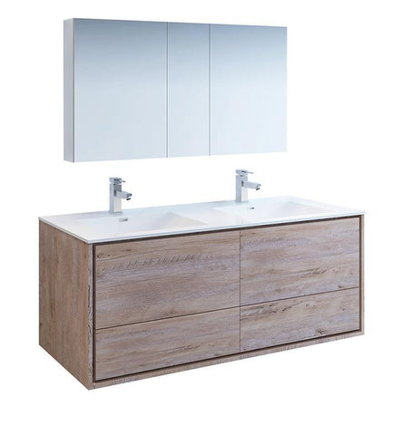 "Fresca Catania 60"" Rustic Wood Double Sink Bath Vanity Set w/ Cabinet & Faucet FVN9260RNW-D-FFT1030BN"
