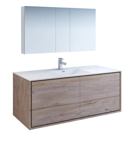 "Fresca Catania 60"" Rustic Wood Single Sink Bath Vanity Set w/ Cabinet & Faucet FVN9260RNW-S-FFT1030BN"