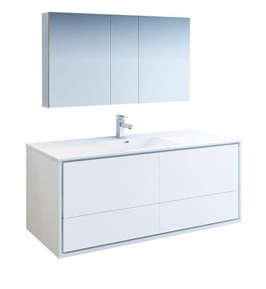 "Fresca Catania 60"" White Single Sink Bath Bowl Vanity Set w/ Cabinet & Faucet FVN9260WH-S-FFT1030BN"