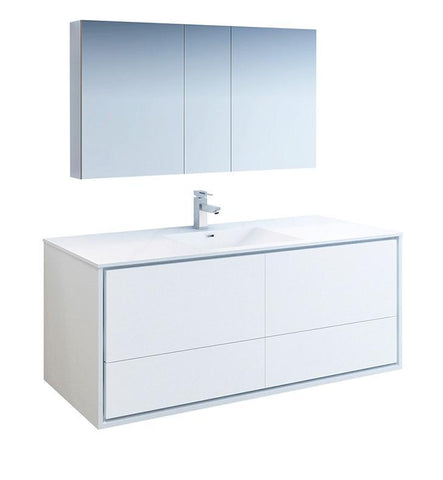 "Image of Fresca Catania 60"" White Single Sink Bath Bowl Vanity Set w/ Cabinet & Faucet FVN9260WH-S-FFT1030BN"