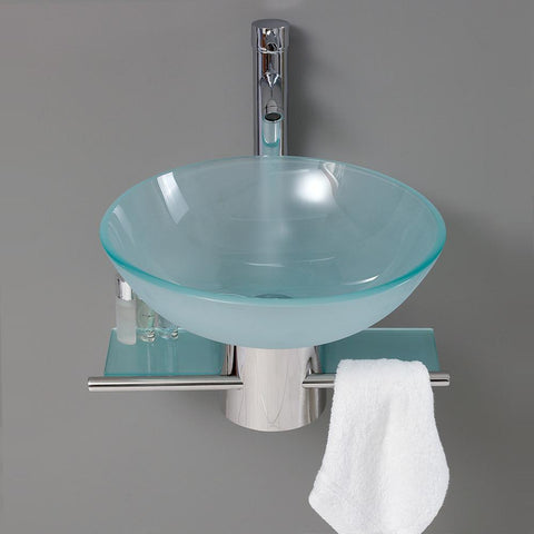 "Image of Fresca Cristallino 18"" Modern Glass Bathroom Vanity FVN1012-FFT1044CH"