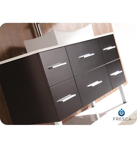 "Image of Fresca Distante 43"" Espresso Modern Bathroom Cabinet w/ Top & Vessel Sink FCB6123ES-CWH-V"