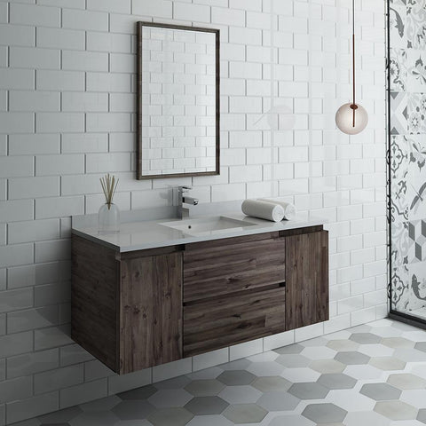 "Image of Fresca Formosa 48"" Wall Hung Modern Bathroom Vanity FVN31-122412ACA-FFT1030BN"