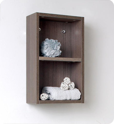 Fresca Gray Oak Bathroom Linen Side Cabinet w/ 2 Open Storage Areas FST8092GO
