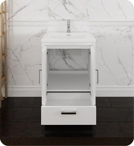 "Image of Fresca Imperia 24"" Glossy White Free Standing Modern Bathroom Cabinet w/ Integrated Sink 