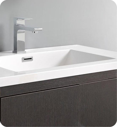 "Fresca Imperia 30"" Dark Gray Oak Free Standing Modern Bathroom Cabinet w/ Integrated Sink 