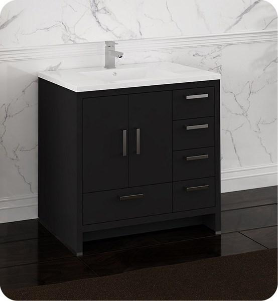"Fresca Imperia 36"" Dark Gray Oak Free Standing Modern Bathroom Cabinet w/ Integrated Sink - Right Version 