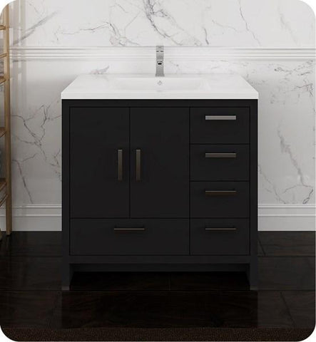 "Image of Fresca Imperia 36"" Dark Gray Oak Free Standing Modern Bathroom Cabinet w/ Integrated Sink - Right Version 