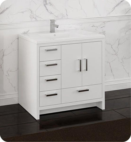 "Image of Fresca Imperia 36"" Glossy White Free Standing Modern Bathroom Cabinet w/ Integrated Sink - Left Version 