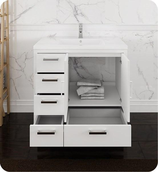 "Fresca Imperia 36"" Glossy White Free Standing Modern Bathroom Cabinet w/ Integrated Sink - Left Version 