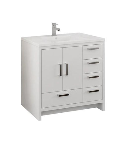 "Image of Fresca Imperia 36"" Glossy White Free Standing Modern Bathroom Cabinet w/ Integrated Sink - Right Version 